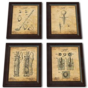 4 golf patent prints framed