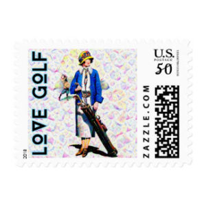 woman golfer postage stamps