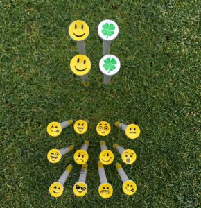 parsaver fun emoji golf tees, smiley face cup golf tees