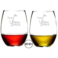 19th hole golf wine glasses, drinking gifts for golfers, golfer wine glasses