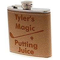 personalized golf flask, custom golfer flask with putting juice, golf drinking gift