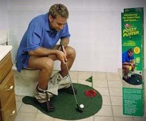 potty putter, funny golf gag gift, toilet golf gag gift